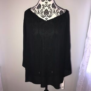 Black long sleeve blouse with cut outs